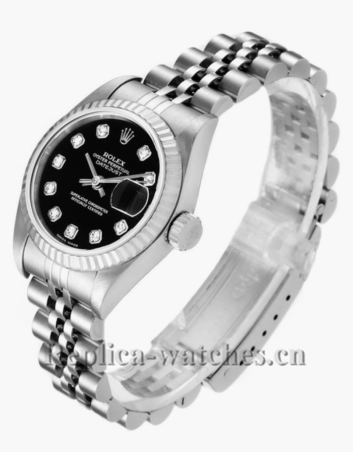 Replica Rolex Datejust 79174 Stainless steel oyster case 26mm Black Diamond Dial Ladies Watch