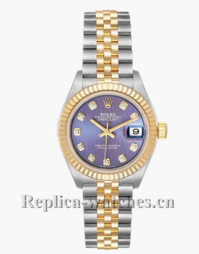 Replica Rolex Datejust  279173 Stainless steel oyster case 28mm Lilac Diamond dial Ladies Watch