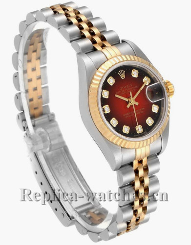 Replica Rolex Datejust 79173 Stainless steel oyster case 26mm Red vignette dial Diamond Ladies Watch