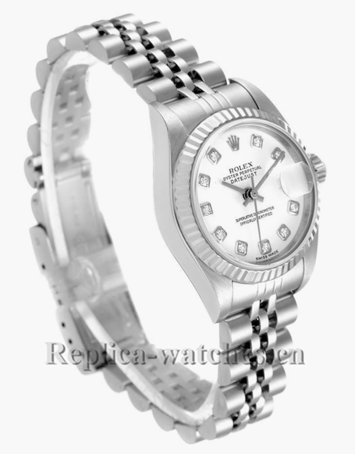 Replica Rolex Datejust 79174 Stainless steel oyster case 26mm White Diamond Dial Ladies Watch