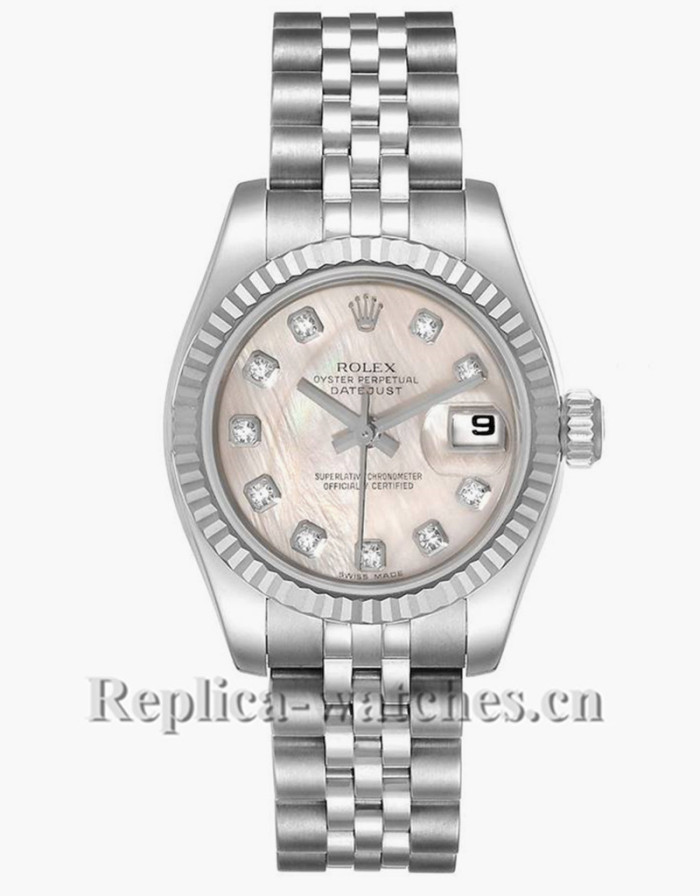 Replica Rolex Datejust 179174 Stainless steel oyster case 26mm MOP Diamond dial Ladies Watch