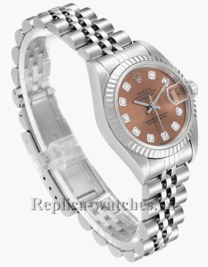 Replica Rolex Datejust 69174 Stainless steel oyster case 26mm Salmon Diamond Dial Ladies Watch