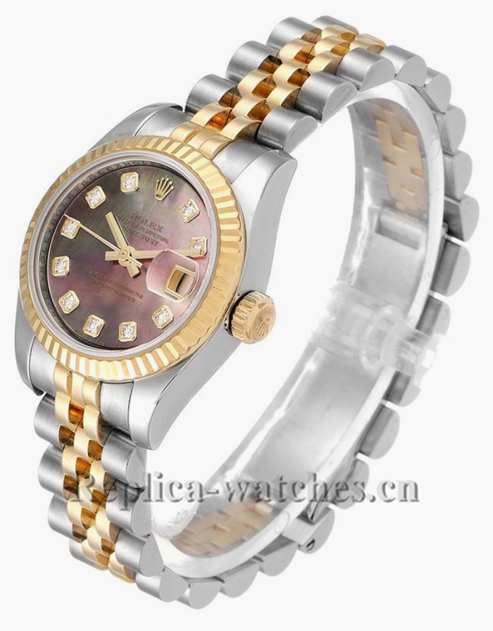 Replica Rolex Datejust 179173 Stainless steel oyster case 26mm MOP Diamond Ladies Watch