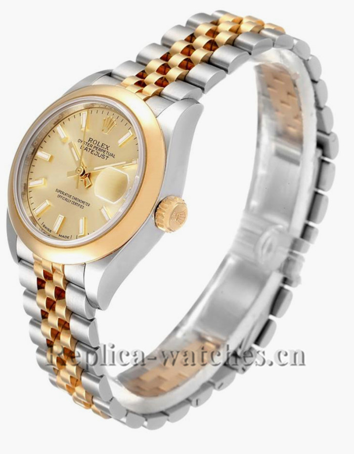 Replica Rolex Datejust 279163 Stainless steel oyster case 28mm Champagne Dial Ladies Watch