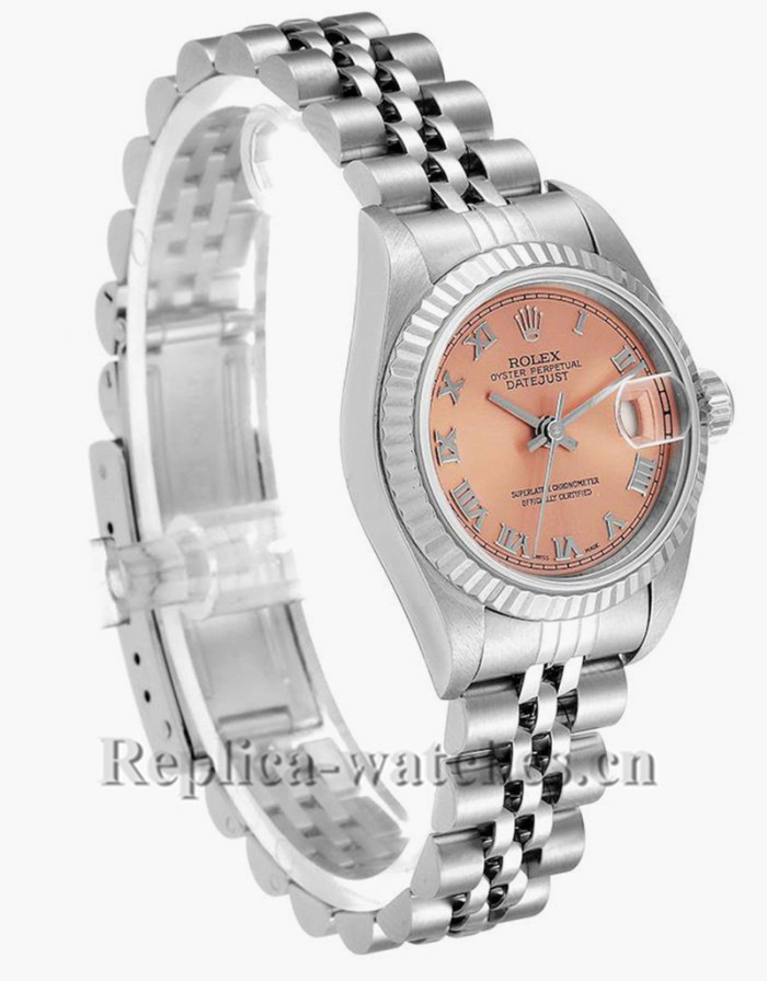 Replica Rolex Datejust 79174  Stainless steel oyster case 26mm Salmon Dial Ladies Watch