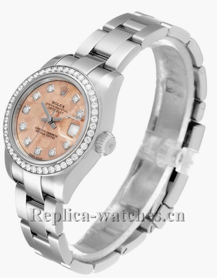 Replica Rolex Datejust 179384 Stainless steel oyster case 26mm Pink Gold Crystal Diamond dial Ladies Watch