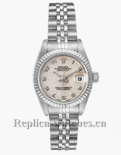 Replica Rolex Datejust 69174 Stainless steel oyster case 26mm Silver Anniversary Dial Ladies Watch