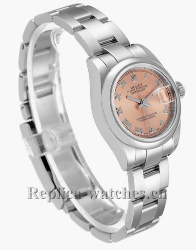 Replica Rolex Datejust 179160  Stainless steel oyster case 26mm Salmon Roman Dial Ladies Watch