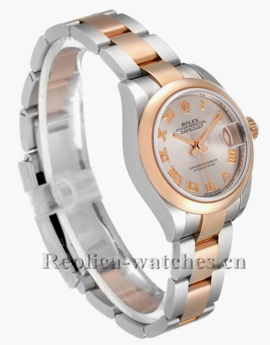 Replica Rolex Datejust 279161 Stainless steel oyster case 28mm Silver Roman Dial Ladies Watch