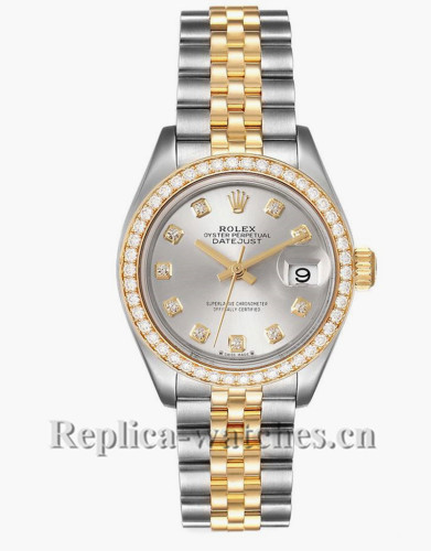 Replica Rolex Datejust  279383 Stainless steel oyster case 28mm Silver Ladies Diamond Watch