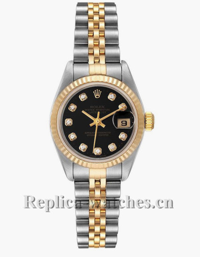 Replica Rolex Datejust 79173 Stainless steel oyster case 26mm Black Diamond Dial Ladies Watch