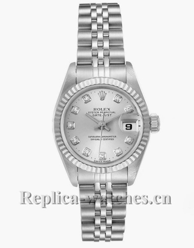 Replica Rolex Datejust 69174 Stainless steel oyster case 26mm Silver Diamond Dial Watch