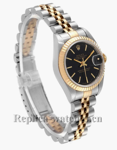 Replica Rolex Datejust 69173 Steel Fluted Bezel  26mm Black Dial Ladies Watch