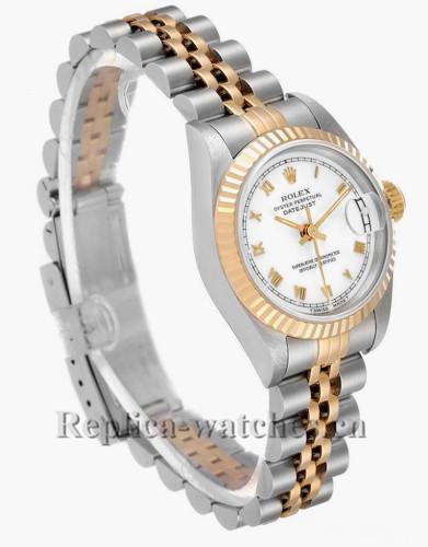 Replica Rolex Datejust 69173 Steel Fluted Bezel 26mm White dial Ladies Watch