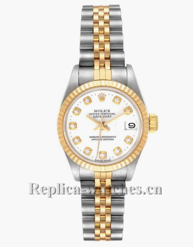Replica Rolex Datejust 69173 Stainless steel oyster case 26mm White Diamond Dial Watch