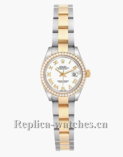 Replica Rolex Datejust 279383 Stainless steel oyster case 28mm White Diamond Ladies Watch