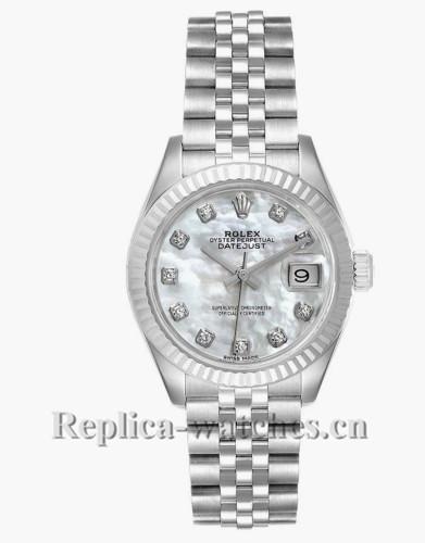 Replica Rolex Datejust 279174 Stainless steel oyster case 28mm MOP Diamond Ladies Watch