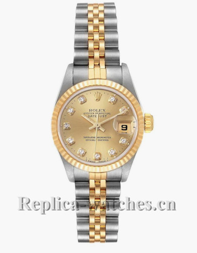 Replica Rolex Datejust 69173 Stainless steel oyster case 26mm Champagne dial Diamond Ladies Watch