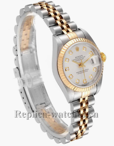 Replica Rolex Datejust  79173 Stainless steel oyster case 26mm Silver Diamond Dial Watch