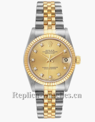 Replica Rolex Datejust 68273 Stainless steel oyster case 31mm Diamond Ladies Watch