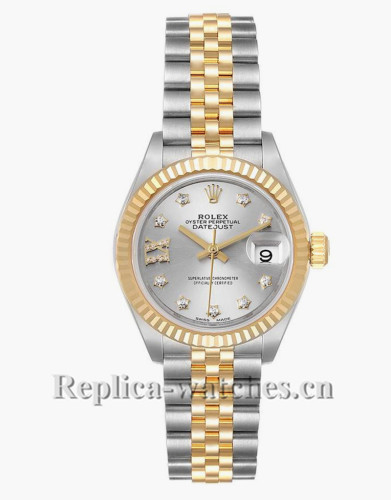 Replica Rolex Datejust 279173 Stainless steel oyster case 28mm Silver dial Diamond Ladies Watch
