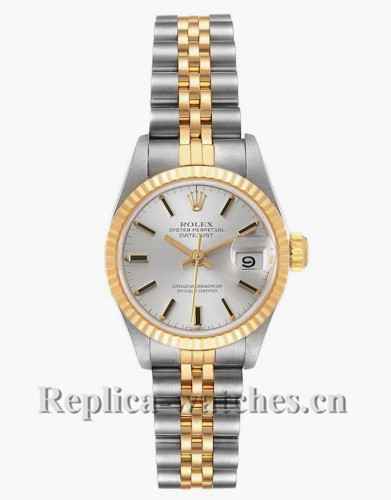 Replica Rolex Datejust 69173 Stainless steel oyster case 26mm Silver Dial Ladies Watch