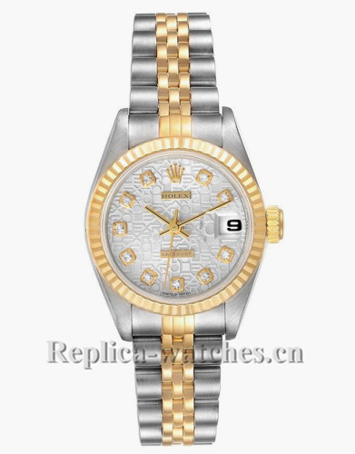 Replica Rolex Datejust 69173 Stainless steel oyster case 26mm Silver Anniversary Diamond Dial Ladies Watch