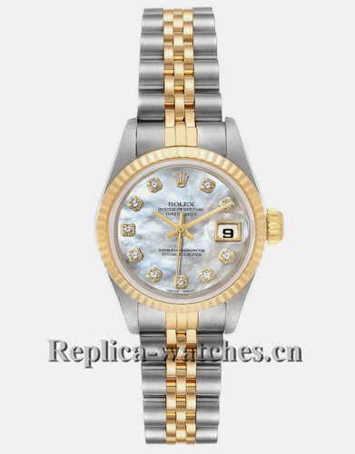 Replica Rolex Datejust 69173 Stainless steel oyster case 26mm MOP Diamond Dial Ladies Watch