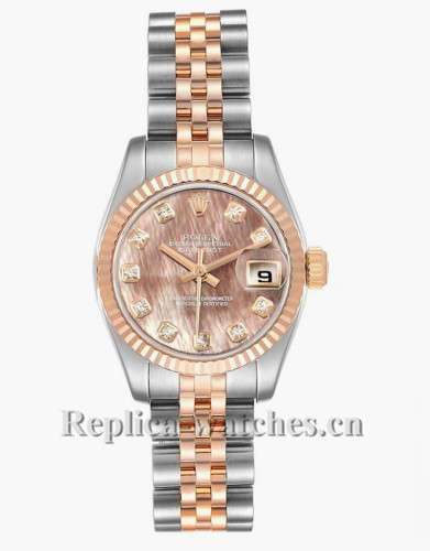 Replica Rolex Datejust 179171 Stainless steel oyster case 26mm MOP Diamond dial Ladies Watch
