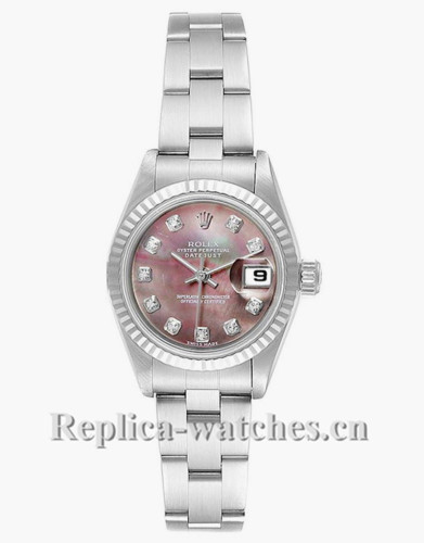 Replica Rolex Datejust 79174 Stainless steel oyster case 26mm Mother of Pearl Diamond Dial Ladies Watch
