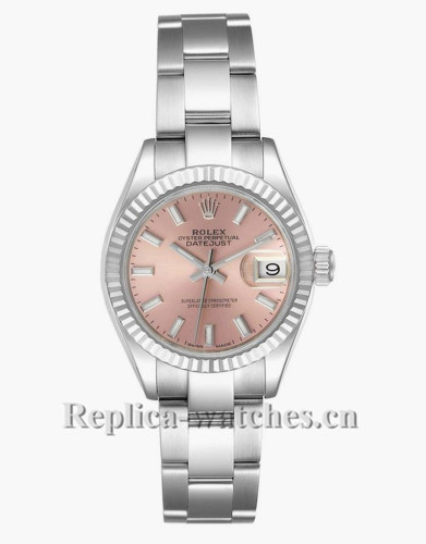 Replica Rolex Datejust 279174 Stainless steel oyster case 28mm Pink Dial Ladies Watch