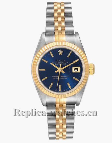 Replica Rolex Datejust 69173  Blue dial 26mm Fluted Bezel Ladies Watch