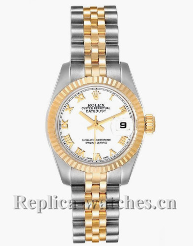 Replica Rolex Datejust 179173 Stainless steel oyster case 26mm White Dial Ladies Watch