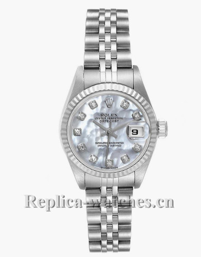Replica Rolex Datejust 79174 Stainless steel oyster case 26mm White MOP Diamond Ladies Watch