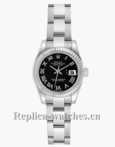 Replica Rolex Datejust 179174 Stainless steel oyster case 26mm Black Dial Ladies Watch