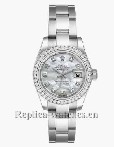 Replica Rolex Datejust 179384 Stainless steel oyster case 26mm MOP Diamond dial Ladies Watch