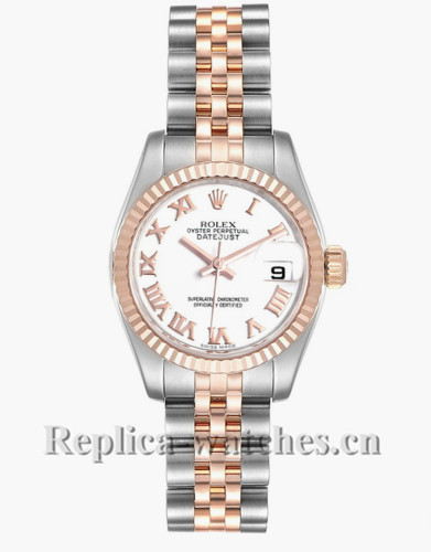 Replica Rolex Datejust 179171 Stainless steel oyster case 26mm White dial Ladies Watch