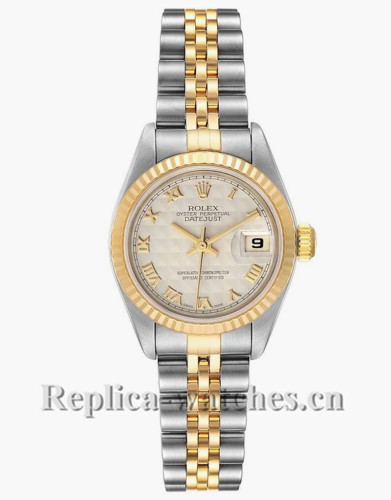 Replica Rolex Datejust 79173 Stainless steel oyster case 26mm Ivory Pyramid Dial Ladies Watch
