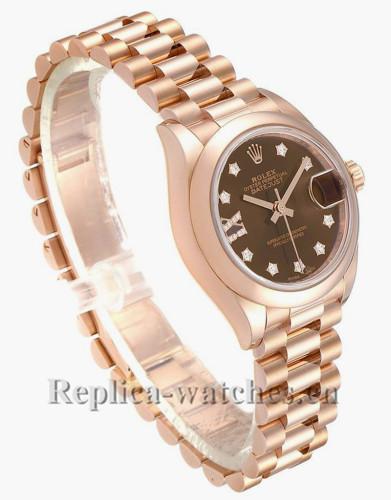 Replica Rolex President  279165 Cyclops magnifier 28mm Chocolate Dial Ladies Watch