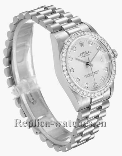 Replica Rolex President Datejust 78286 Platinum oyster case 31mm Silver dial Diamond Ladies Watch