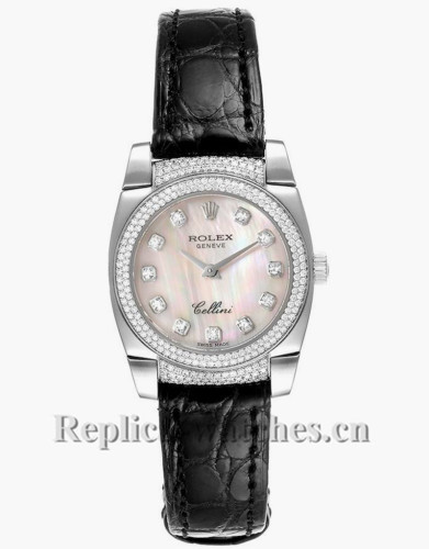 Replica Rolex Cellini Cestello 6311 diamond bezel 26mm MOP dial Ladies Watch