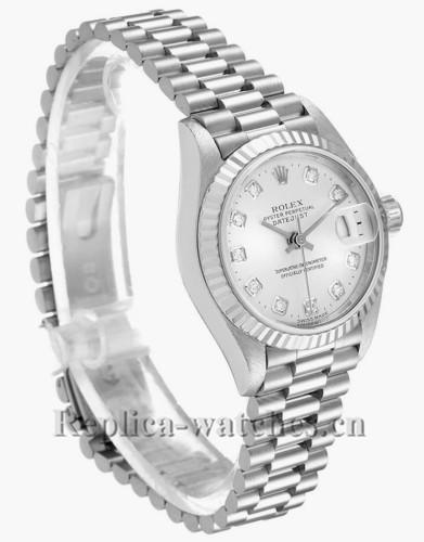 Replica Rolex President 79179  fluted bezel 26mm Silver dial Diamond Ladies Watch