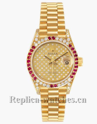 Replica Rolex President 69038 ruby bezel 26mm champagne pave diamond dial Ladies Watch
