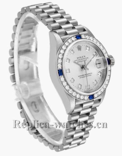 Replica Rolex President Datejust 79089 cyclops magnifier 26mm Silver dial Diamond Ladies Watch