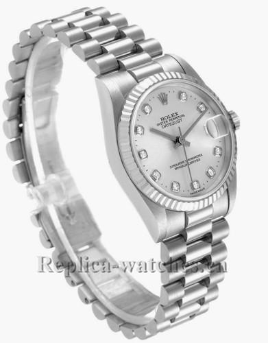 Replica Rolex President 78279 fluted bezel 31mm Silver dial Diamond Ladies Watch
