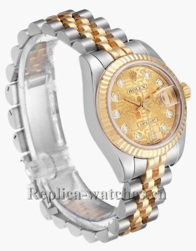 Replica Rolex Datejust 179173 Stainless steel oyster case 26mm Champagne dial Diamond Ladies Watch