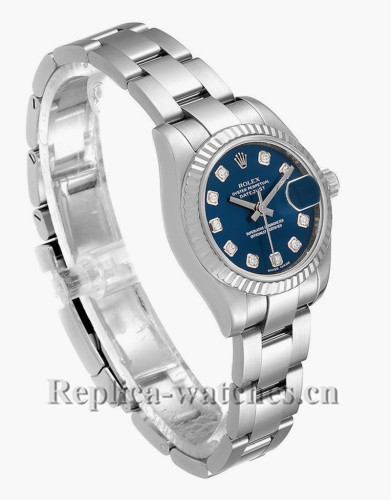 Replica Rolex Datejust 179174 Stainless steel oyster case 26mm Blue Diamond Dial Ladies Watch