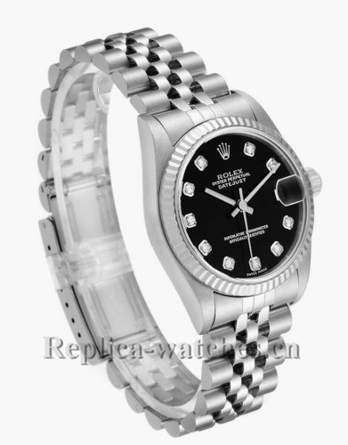 Replica Rolex Datejust 78274 Stainless steel oyster case 31mm Black dial Diamond Ladies Watch