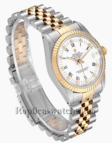 Replica Rolex Datejust 682734 Stainless steel oyster case 31mm White Dial Ladies Watch