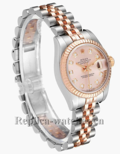 Replica Rolex Datejust 179171 Stainless steel oyster case 26mm Rose dial Diamond Ladies Watch